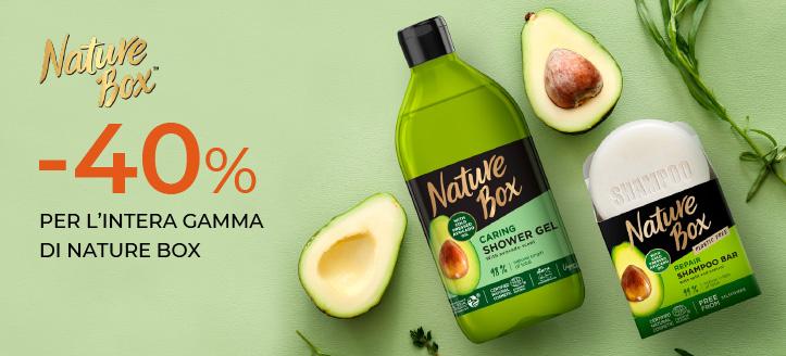 Sconto del 40% su tutto l'assortimento Nature Box. I prezzi sul nostro sito comprendono gli sconti