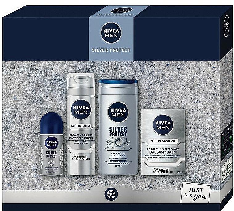 Set - Nivea Men Silver Protect 2020 (balm/100ml + foam/200ml + shower/gel/250ml + deo/50ml)