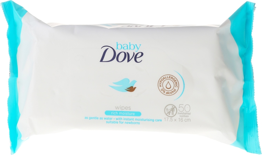 Salviettine umidificate, 50 pz - Dove Baby Care Rich Moisture Wipes