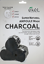 Profumi e cosmetici Maschera in tessuto all'estratto di carbone - Ekel Super Natural Ampoule Mask Charcoal