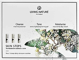 Profumi e cosmetici Set - Living Nature Skin Steps To Normal Nourish Skin (milk/50ml + gel/50ml + cr/50ml)