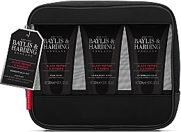 Profumi e cosmetici Set - Baylis & Harding Signature Men's Black Pepper & Ginseng Toiletry Bag (hair/body/wash/100ml+a/sh/balm/100ml+face/wash/100ml+acc)