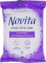 """Profumi e cosmetici Salviettine umidificate """"Make up"""" con un complesso di oli naturali - Novita Delicate"""