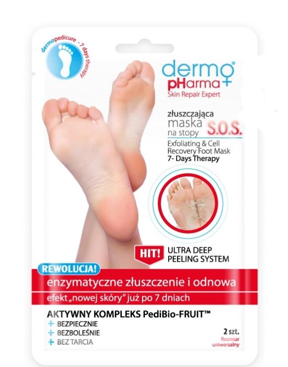 """Maschera esfoliante per piedi """"SOS Esfoliazione e rinnovamento enzimatico"""" - Dermo Pharma Skin Repair Expert S.O.S. Exfoliating & Cell Recovery Foot Mask"""