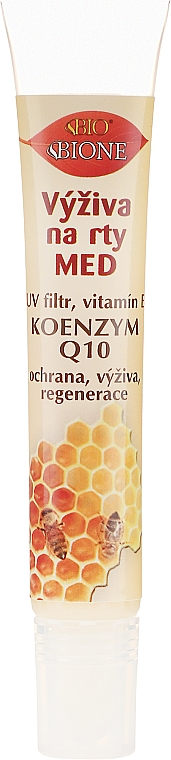 Balsamo labbra nutriente con vitamine E, A e D - Bione Cosmetics Honey + Q10 With Vitamin E and Bee Wax Lip Balm
