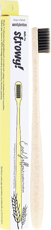 Spazzolino da denti, eco, medio - WoodyBamboo Toothbrush EcoYellow Medium
