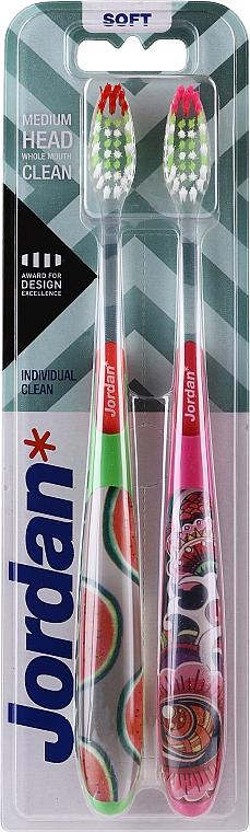 Spazzolini da denti Individual Clean, morbido, verde con angurie + rosa con motivo - Jordan Individual Clean Soft