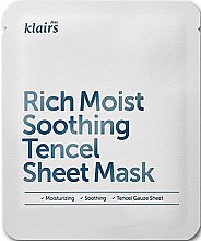 Profumi e cosmetici Maschera in tessuto idratante - Klairs Rich Moist Soothing Tencel Sheet Mask