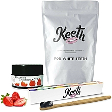 Profumi e cosmetici Set - Keeth Strawberry Charcoal Kit (toothbrush/1pc + toothpowder/15g + pack)