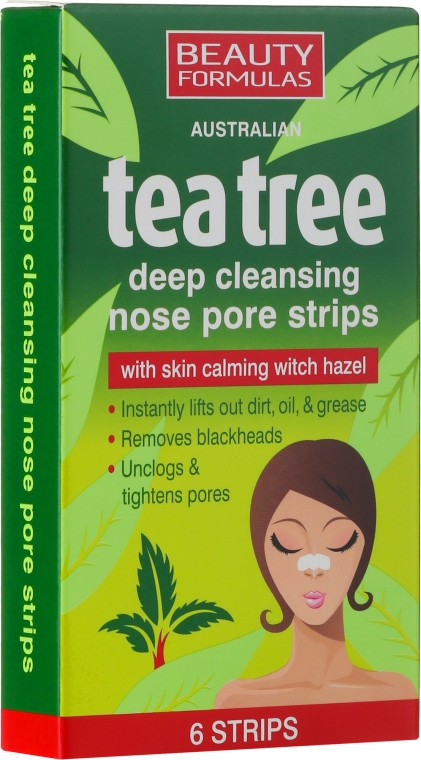 Cerotti purificanti per la pelle del naso - Beauty Formulas Tea Tree Deep Cleansing Nose Pore Strips