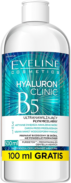 Acqua micellare ultra idratante 3 in 1 - Eveline Cosmetics Hyaluron Clinic B5