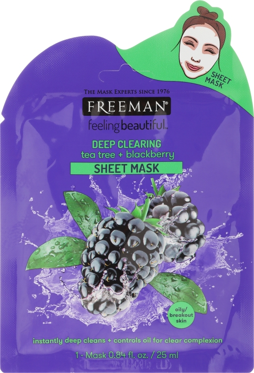 "Maschera in tessuto ""Tea Tree e Blackberry"" - Freeman Sheet Mask"