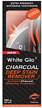 Profumi e cosmetici Set con spazzolino arancione - White Glo Charcoal Deep Stain Remover Toothpaste (toothpaste/150ml+toothbrush)