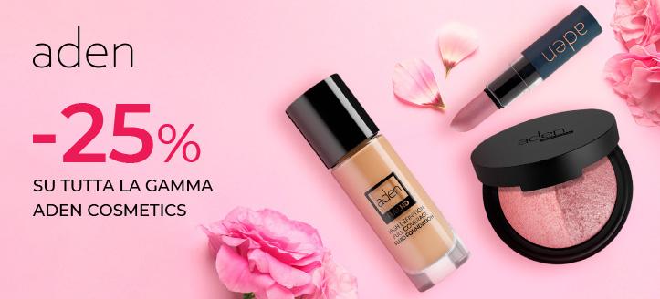 Sconto del 25% su tutta la gamma Aden Cosmetics. I prezzi sul sito sono già scontati