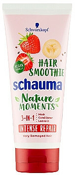 "Maschera per capelli 3in1 ""Fragola, banana e semi di Chia"" - Schwarzkopf Schauma Nature Moments Hair Smoothie 3in1 Intense Repair"