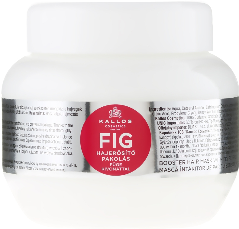 Maschera per capelli con complesso vitaminico - Kallos Cosmetics FIG Booster Hair Mask With Fig Extract