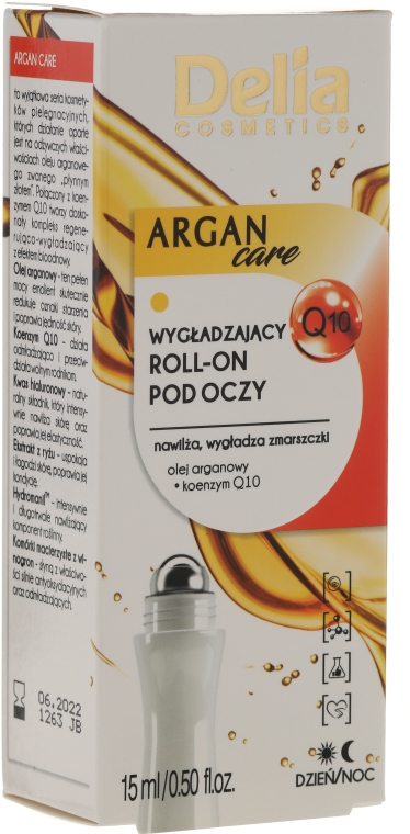 Gel roll-on contorno occhi con olio di argan - Delia Argan Care Under Eye Roll-On Wrinkles Smoother