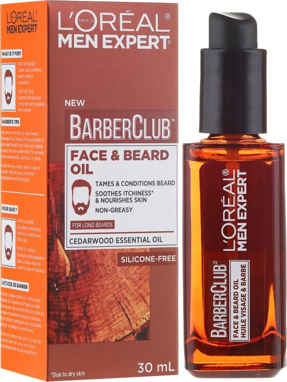 Olio per viso e barba - L'Oreal Paris Men Expert Barber Club Long Beard + Skin Oil