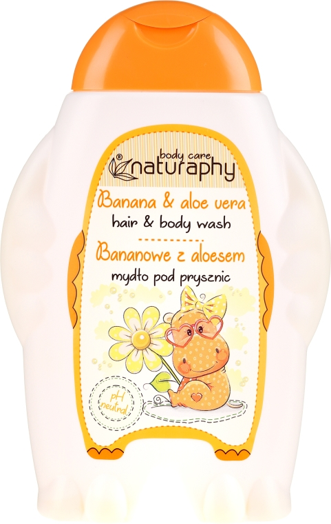 "Shampoo-gel doccia per bambini ""Banana e Aloe Vera"" - Bluxcosmetics Naturaphy Hair & Body Wash"