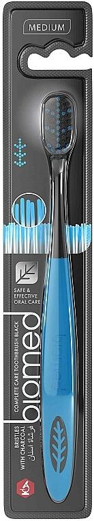 Spazzolino da denti al carbone di legna, blu, medio duro - Biomed Black Medium