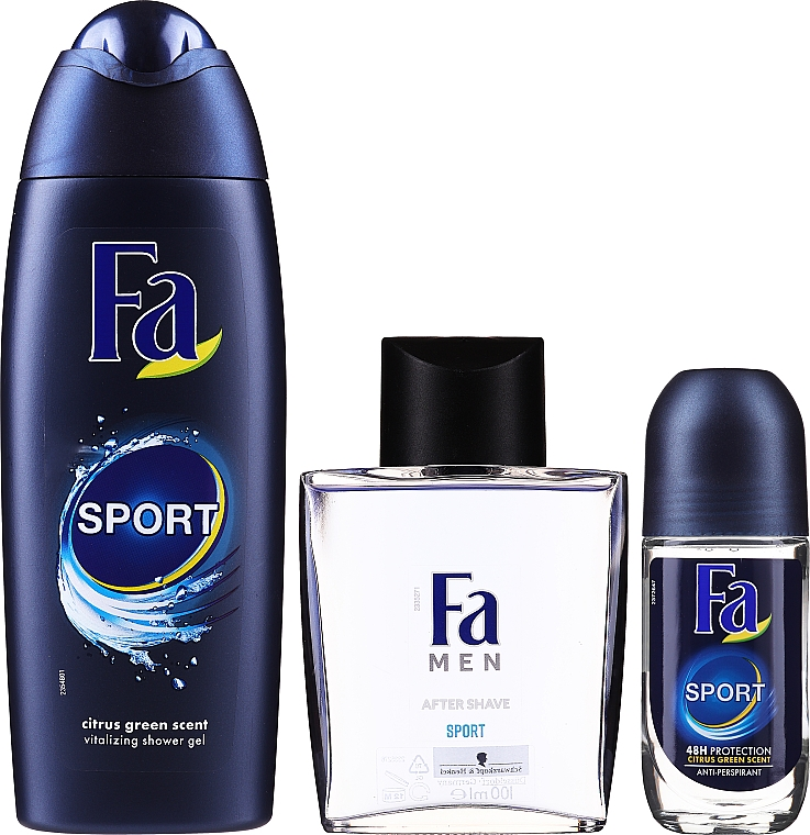 Set - Fa Men Sport (sh/gel/250ml + deo/roll/50ml + ash/lot/100ml + bag) — foto N5