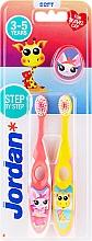 Profumi e cosmetici Spazzolino da denti per bambini, 3-5 anni, rosa + giallo, con giraffa - Jordan Step By Step Soft Clean
