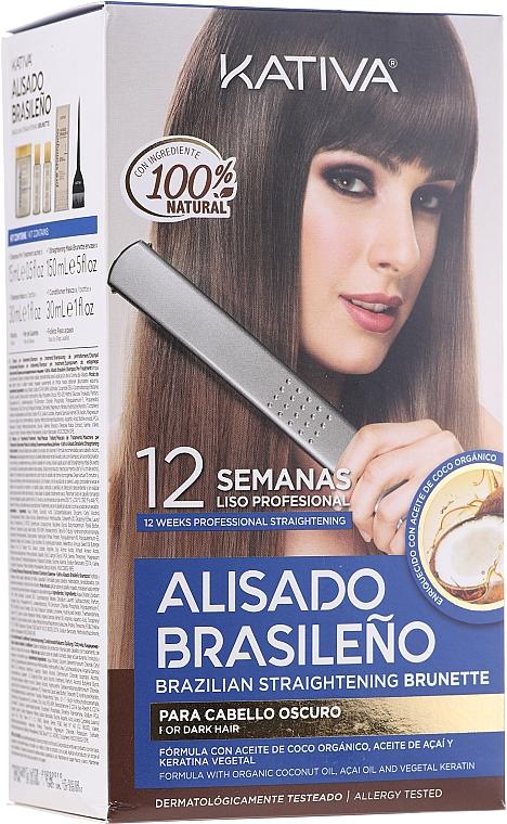 Set per il trattamento alla cheratina, per le brune - Kativa Alisado Brasileno Straighten Brunette (shm/15ml + mask/150ml + shm/30ml + cond/30ml + brush/1pcs + gloves/1pcs)