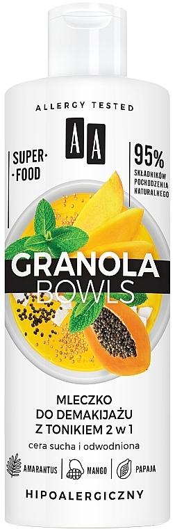 Latte detergente con tonico per pelli sensibili e disidratate - AA Granola Bowls Makeup Remover Milk And Tonic 2 in 1