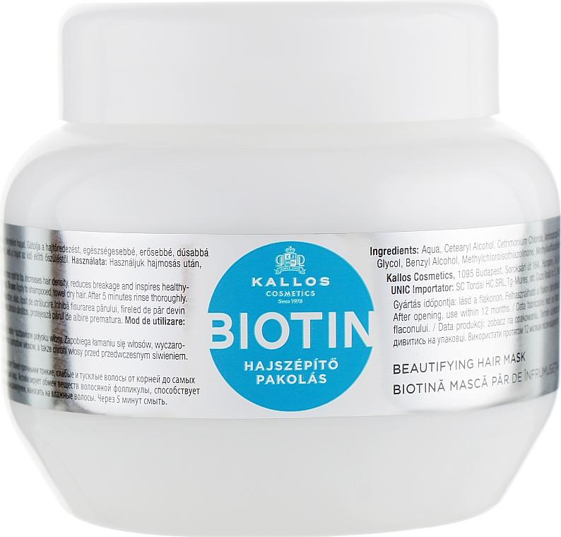 Maschera per la crescita dei capelli, con biotina - Kallos Cosmetics Biotin Beautifying Mask
