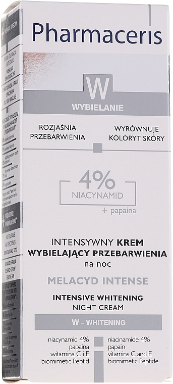 Crema sbiancante, da notte - Pharmaceris Melacyd Intense Whitening Night Face Cream — foto N2