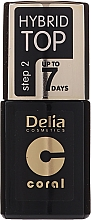 Profumi e cosmetici Top Coat - Delia Coral Hybrid Top Coat Gel