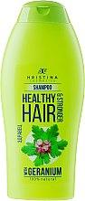 Profumi e cosmetici Shampoo - Hristina Cosmetics Healthy Hair & Stronger With Geranium Shampoo