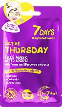 """Profumi e cosmetici Maschera viso nutriente con estratti di peonia e mirtillo """"After Sport Active Thursday"""" - 7 Days Active Thursday"""