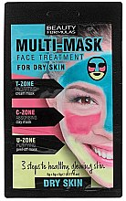 Profumi e cosmetici Maschera viso per la pelle secca - Beauty Formulas 3-Step Multi-Mask Face Treatment For Dry Skin