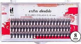 Profumi e cosmetici Ciglia finte C 0,1 mm, 8 mm - Ibra Extra Double 20 Flares Eyelash C 8 mm
