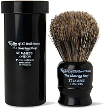 Profumi e cosmetici Pennello da barba, 8,25 cm, con custodia da viaggio, nero - Taylor of Old Bond Street Shaving Brush Pure Badger