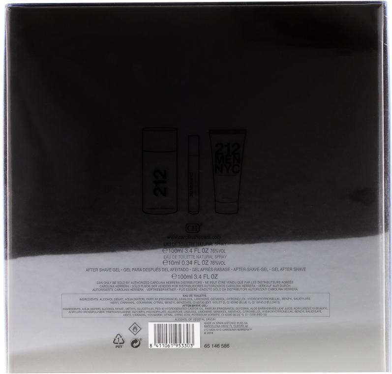 Carolina Herrera 212 Men NYC - Set (edt/100ml + ash/gel/100ml + edt/mini/10ml)  — foto N2