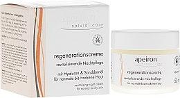 Profumi e cosmetici Crema rigenerante per pelli normali e secche, da notte - Apeiron Night Regeneration Cream