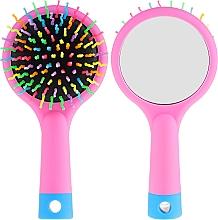 Profumi e cosmetici Spazzola per capelli con specchio, rosa - Twish Handy Hair Brush with Mirror Rose Pink