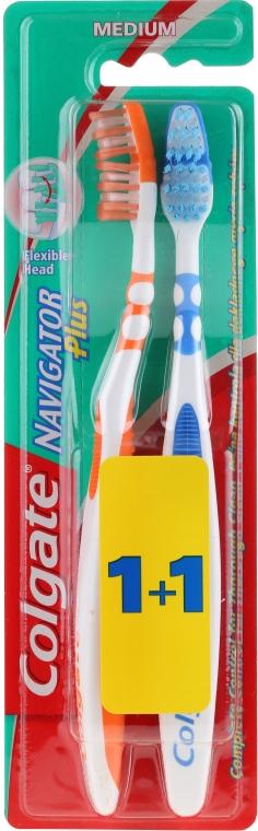 """Spazzolino da denti """"Navigator Plus"""" medio duro 1 + 1, arancione + blu - Colgate — foto N1"""