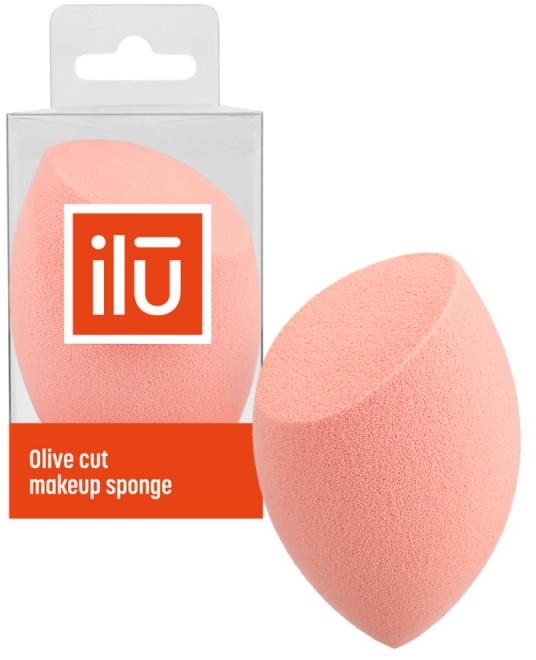 Spugna trucco con taglio piatto, arancione - Ilu Sponge Olive Cut Orange