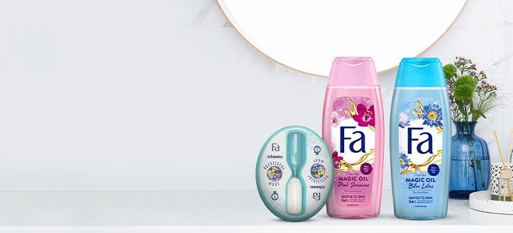 Acquistando prodotti promozionali Fa da 5 €, ricevi in regalo un orologio da doccia a clessidra