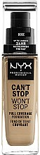 Profumi e cosmetici Fondotinta - NYX Professional Makeup Can't Stop Won't Stop Full Coverage Foundation