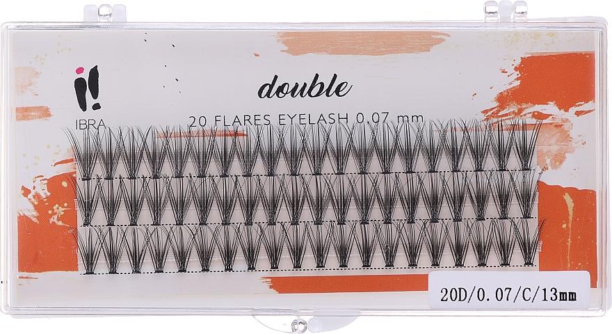 Ciglia finte, C 13 mm - Ibra 20 Flares Eyelash Knot-fre Naturals