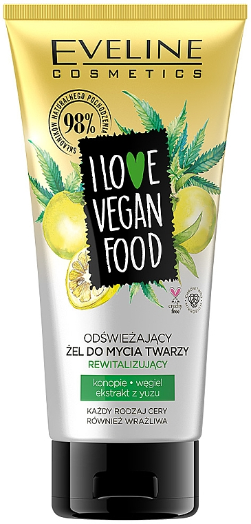 Gel detergente rinfrescante - Eveline I Love Vegan Food Face Wash Gel