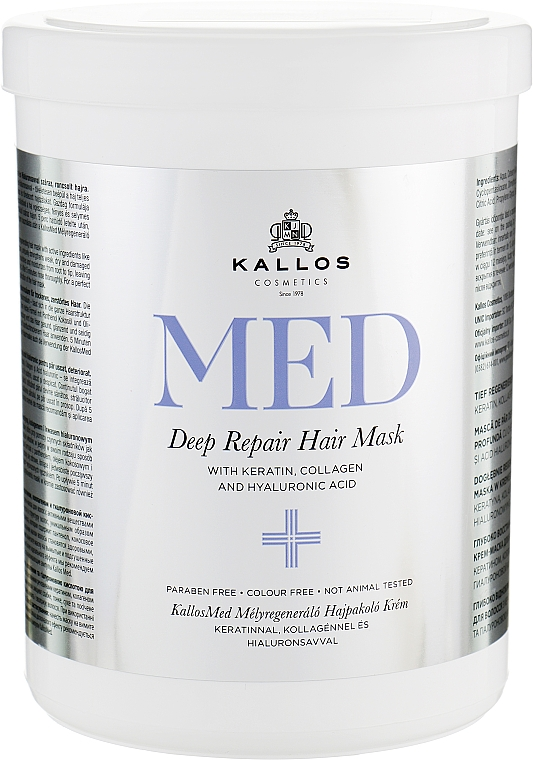 Maschera rigenerante intensiva - Kallos Cosmetics MED Deep Repair Hair Mask