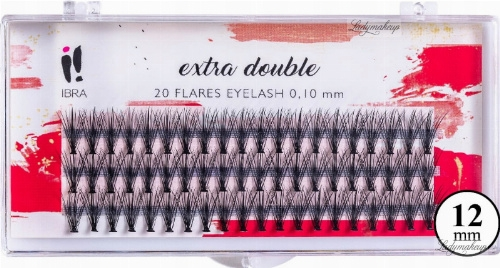 Ciglia finte C 0,1 mm, 12 mm - Ibra Extra Double 20 Flares Eyelash C 12 mm