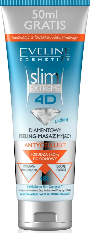 Peeling diamanto da doccia, micro-massaggio con la caffeina - Eveline Cosmetics Slim Extreme 4D Washing Peeling-Massage Anti-Cellulite