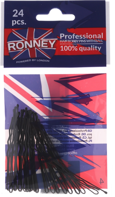 Forcine ondulate, nere 60 mm, 24 pz. - Ronney Black Hair Bobby Pins