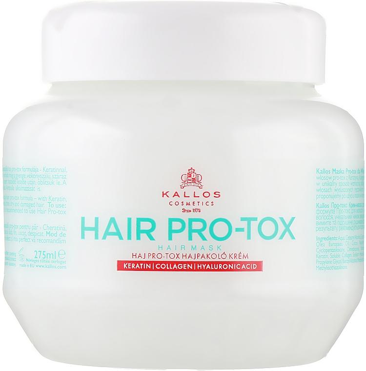 Maschera per capelli con cheratina, collagene e acido ialuronico - Kallos Cosmetics Pro-Tox Hair Mask